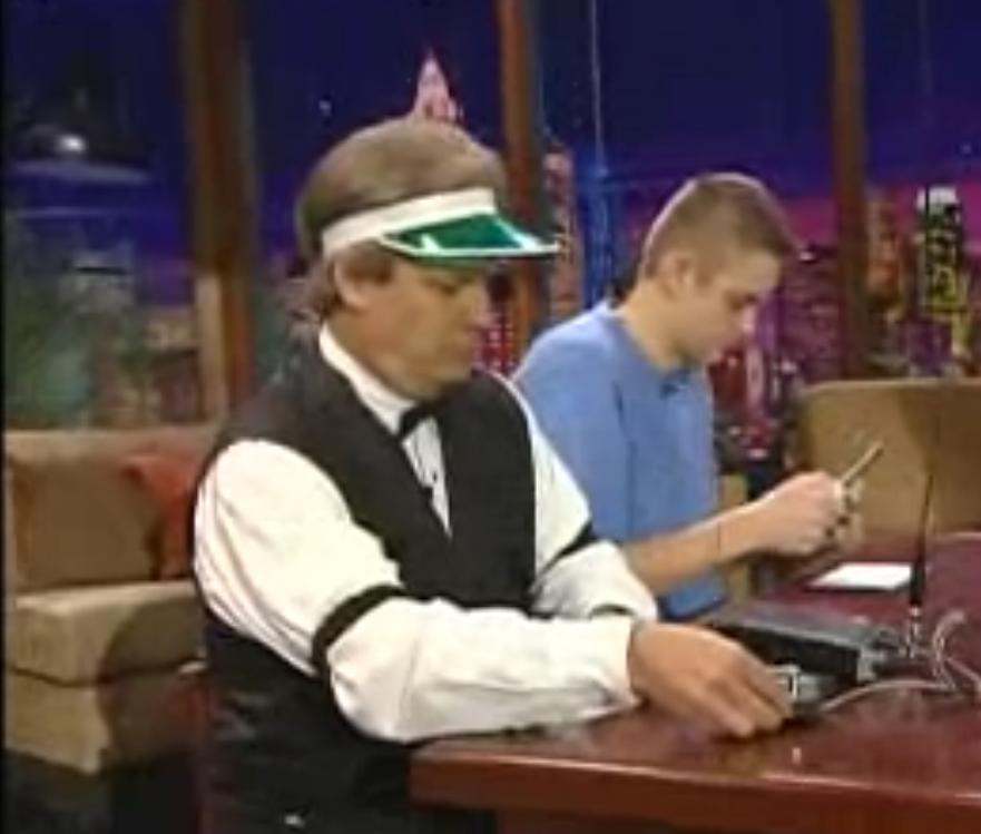 Chip K7JA on the Jay Leno show.  cw vs text