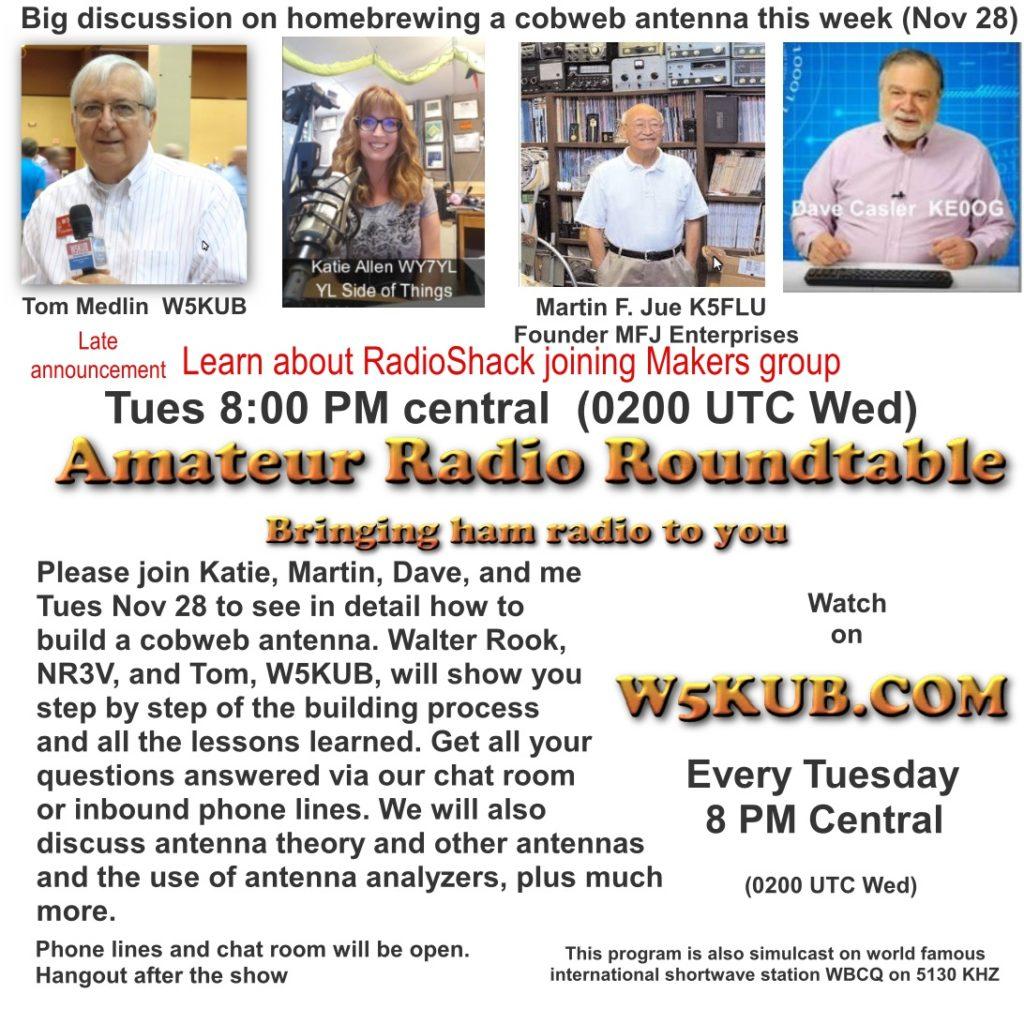 amateur radio roundtable nov 28, 2017 – w5kub